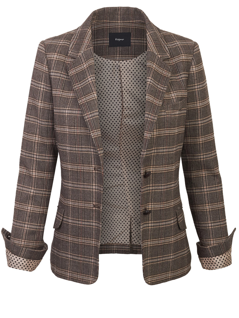 KOGMO Womens Checker Plaid Boyfreined Blazer with Plaid Elbow Patch