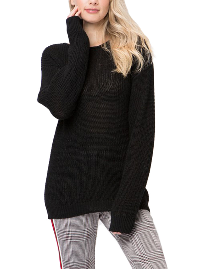 [Clearance] Womens Casual Loose Fit Back Caged Sweater Knit