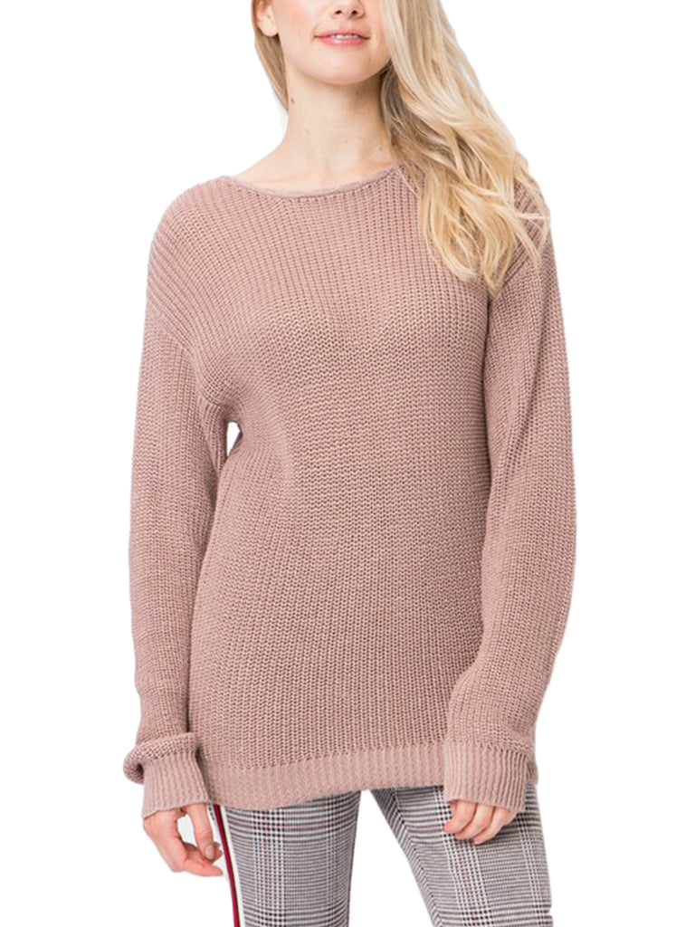 KOGMO Womens Casual Loose Fit Back Caged Sweater Knit