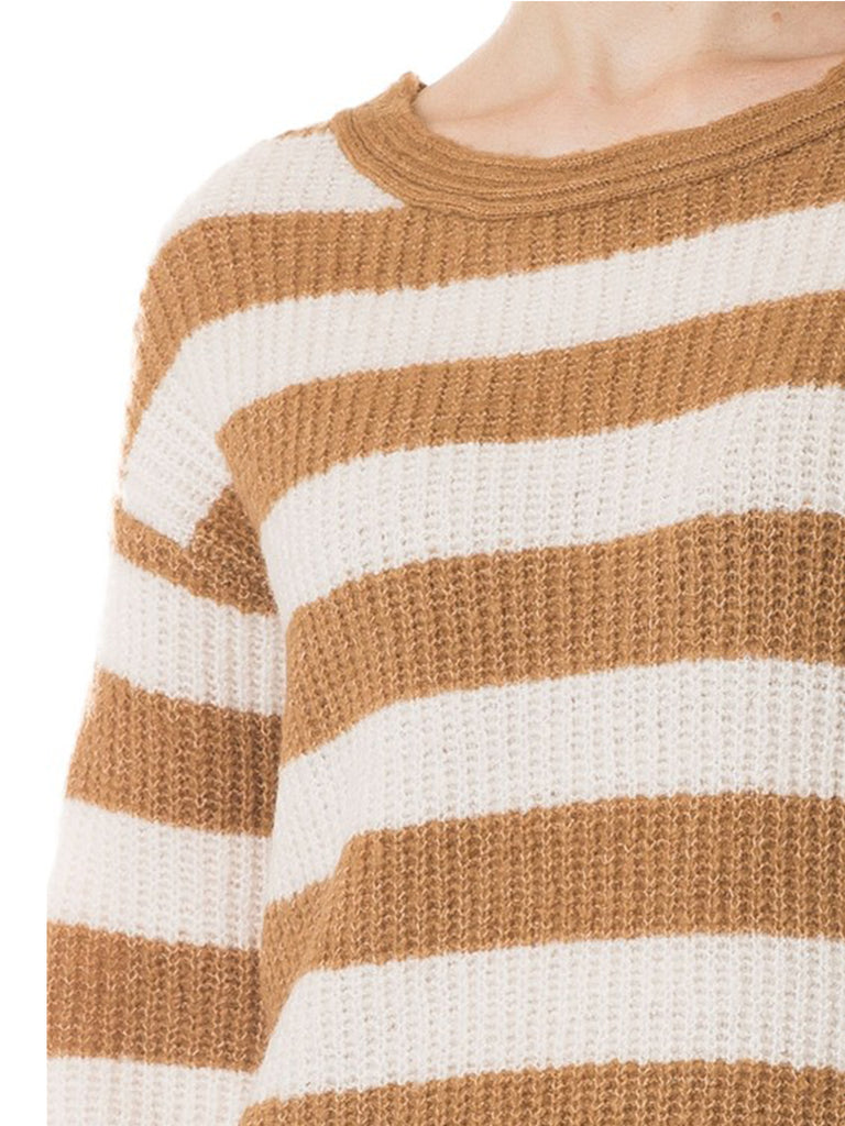KOGMO Womens Casual Loose Fit Stripe Knit Sweater