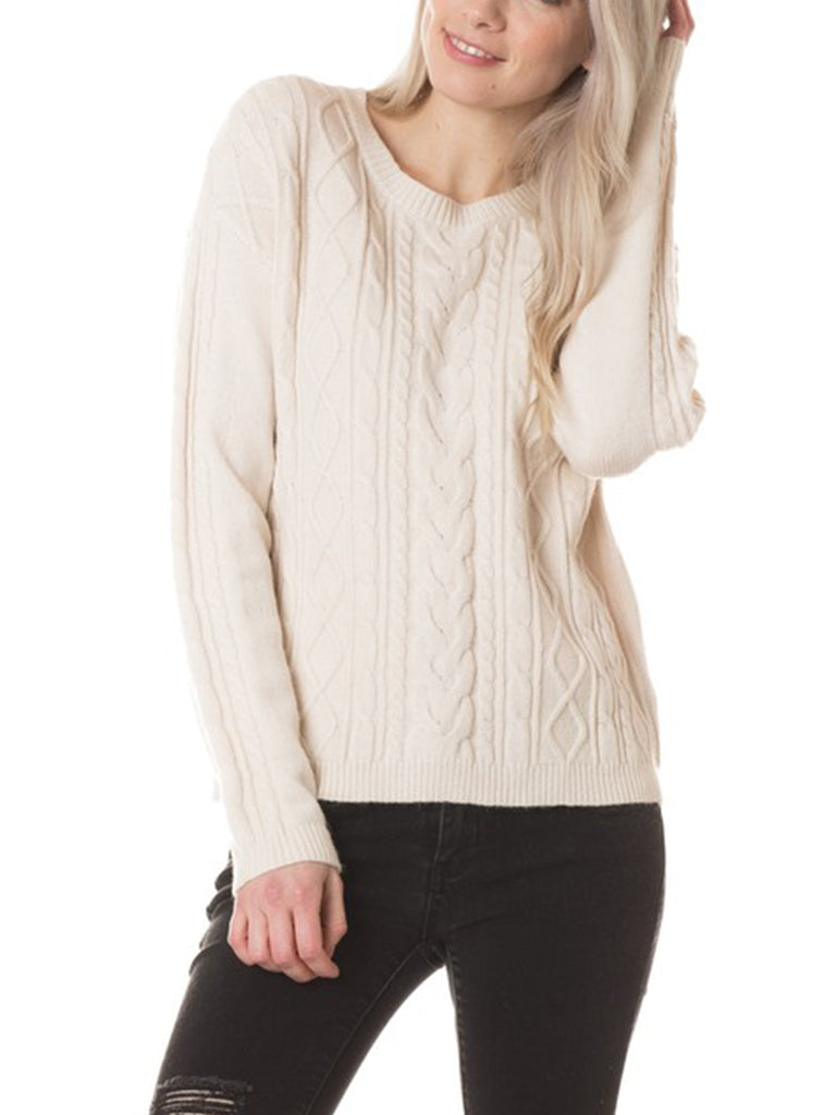 KOGMO Womens Classic Crew Neck Cable Knit Sweater