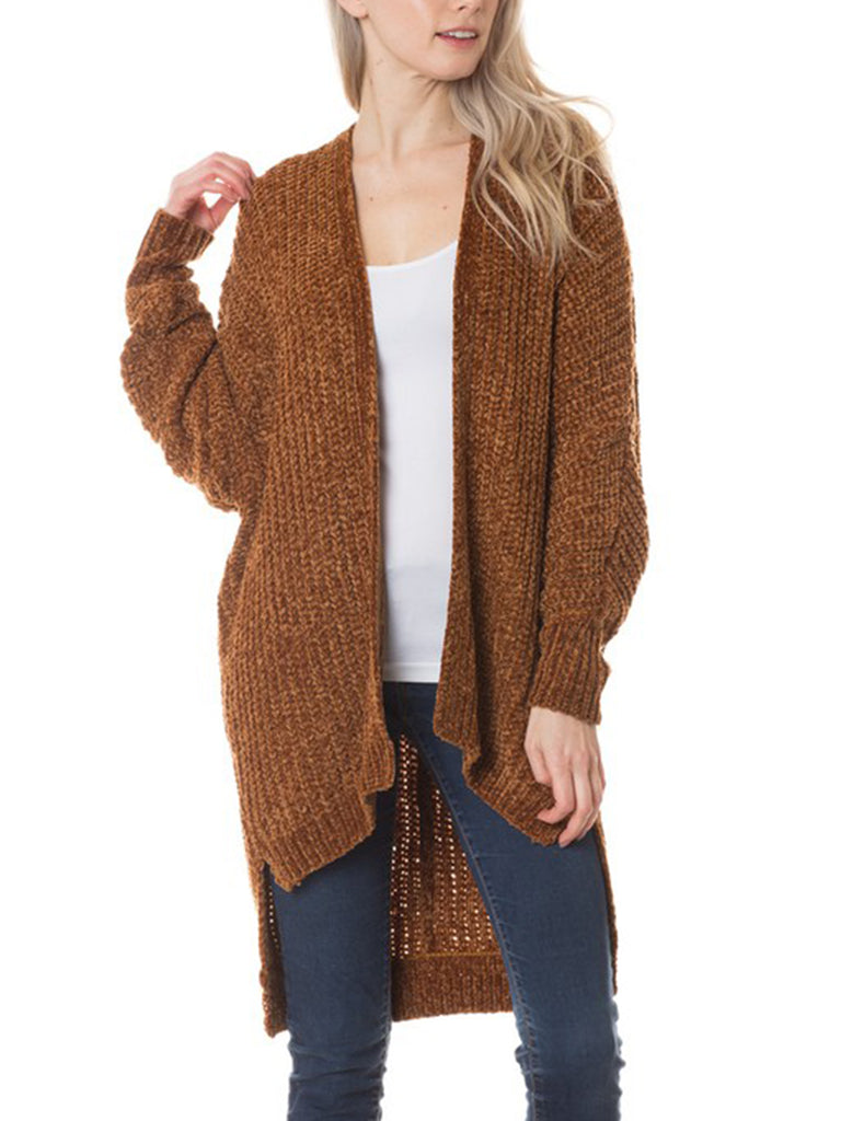 KOGMO Womens Casual Loose Fit Open Front High Low Knit Cardigan