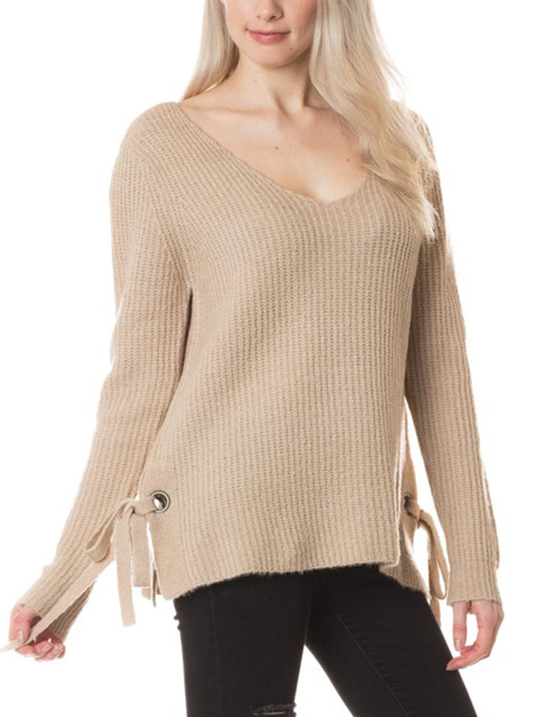 KOGMO Womens V-Neck Casual Loose Fit Knit Sweater with Side Tie Detail