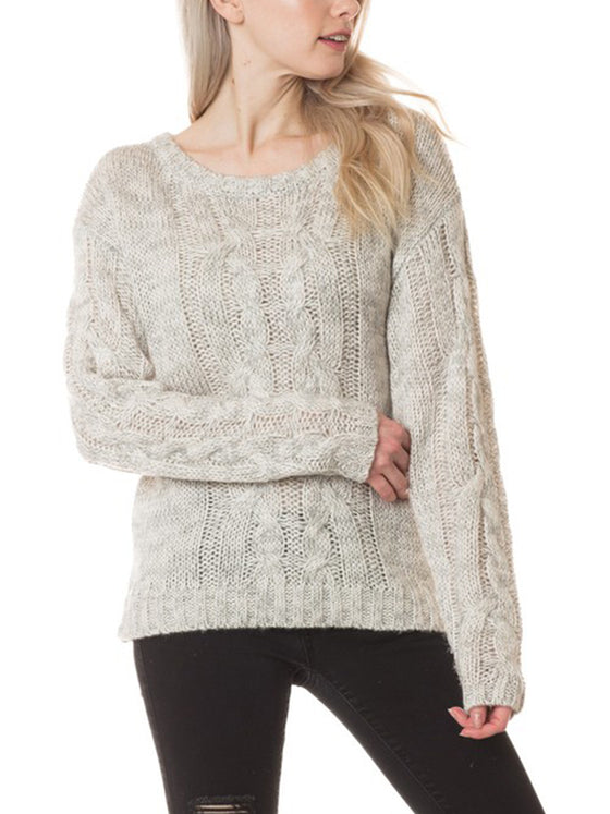 [Clearance] Womens Basic Round Neck Cable Knit Sweater