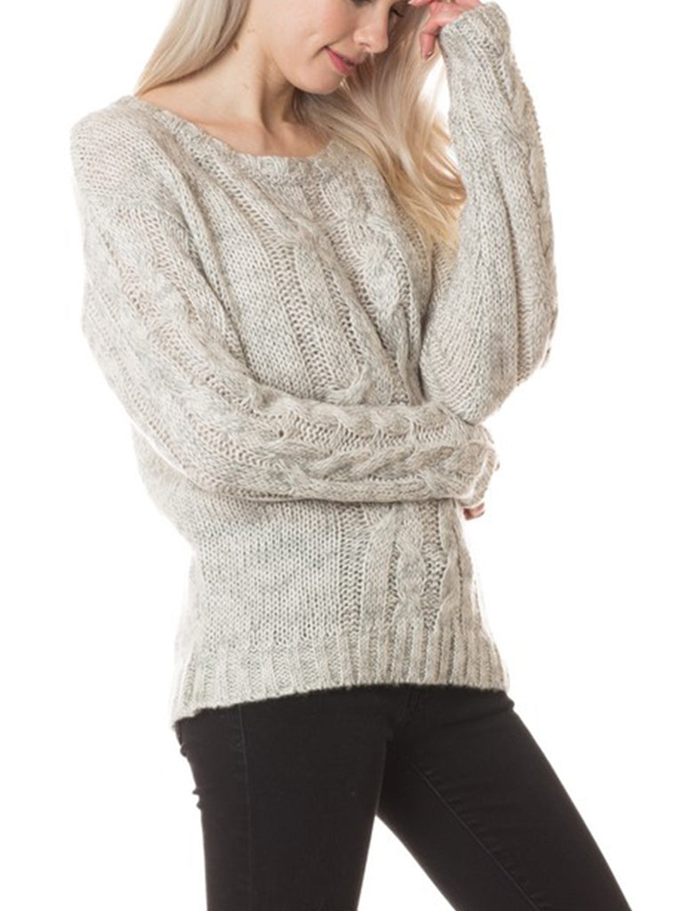 KOGMO Womens Basic Round Neck Cable Knit Sweater