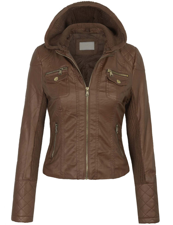 Quilted PU Leather Jacket with Removable Hoodie
