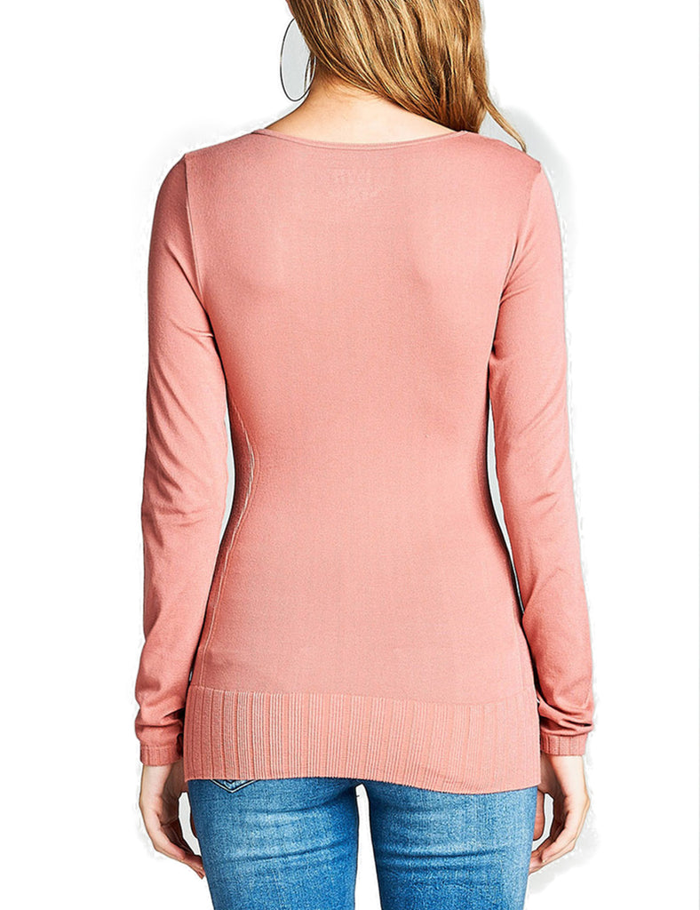 Women's Seamless Scoop Neck Long Sleeve Top with Ribbed Hem
