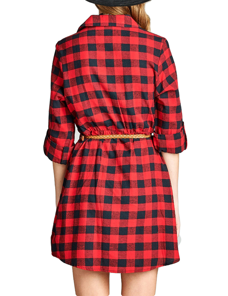 Womens 3/4 Roll-Up Sleeve Plaid Belted Shirt Dress