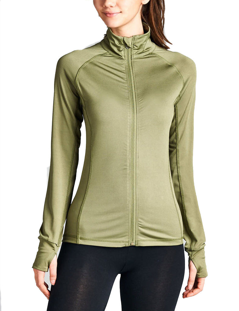Womens Performance Zip Up Stretchy Work Out Track Jacket