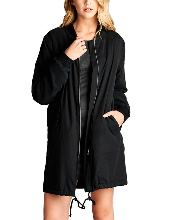 Women's Long Bomber Jacket with Side Pockets and Drawstring on Hemline