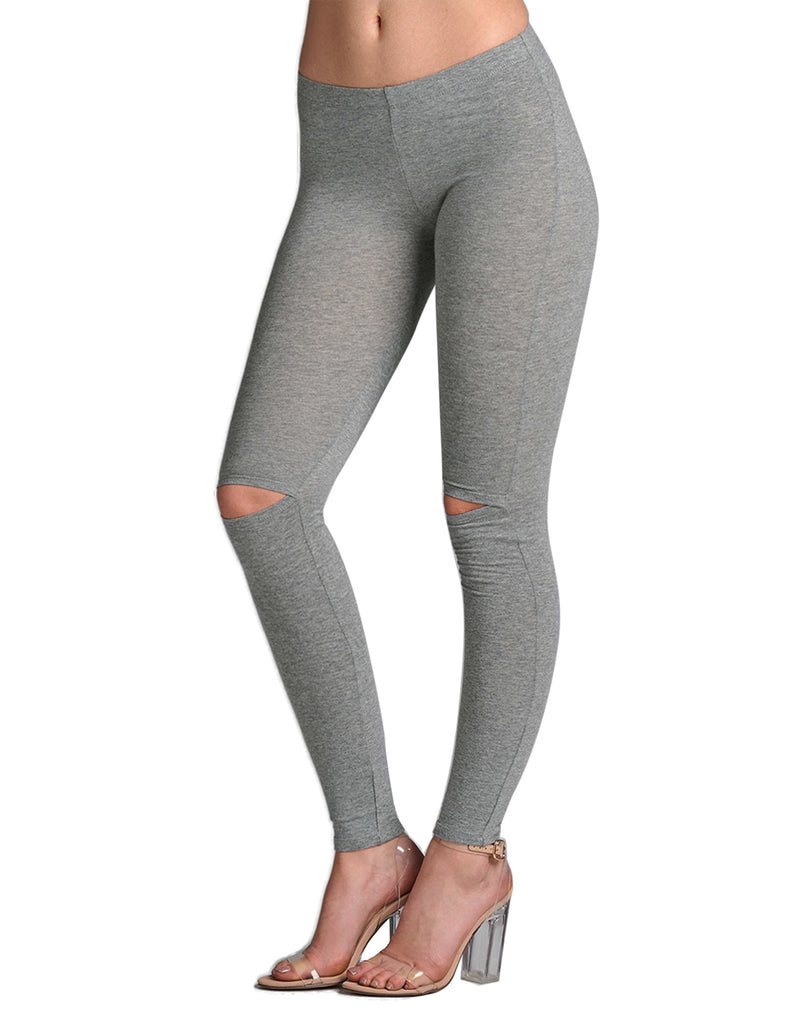 Womens Full Length Premium Cotton Comfortable Stretchy Knee Cut Leggings