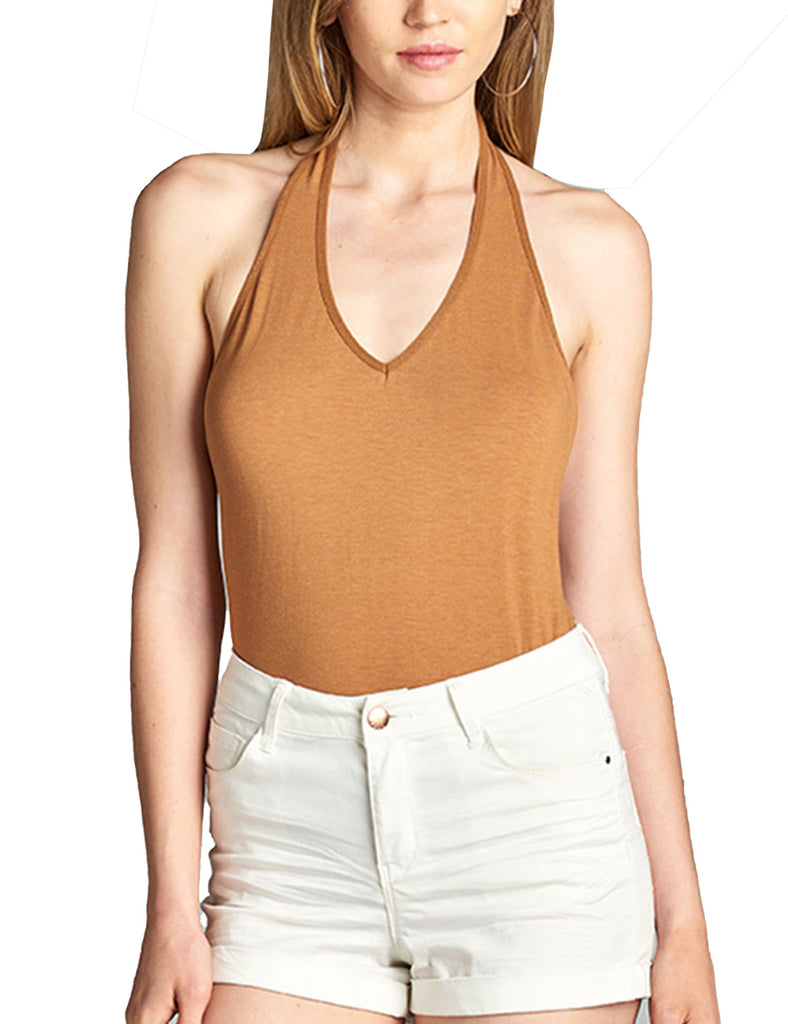 Womens Deep Plunge Halter Neck Sleeveless Jersey Bodysuit