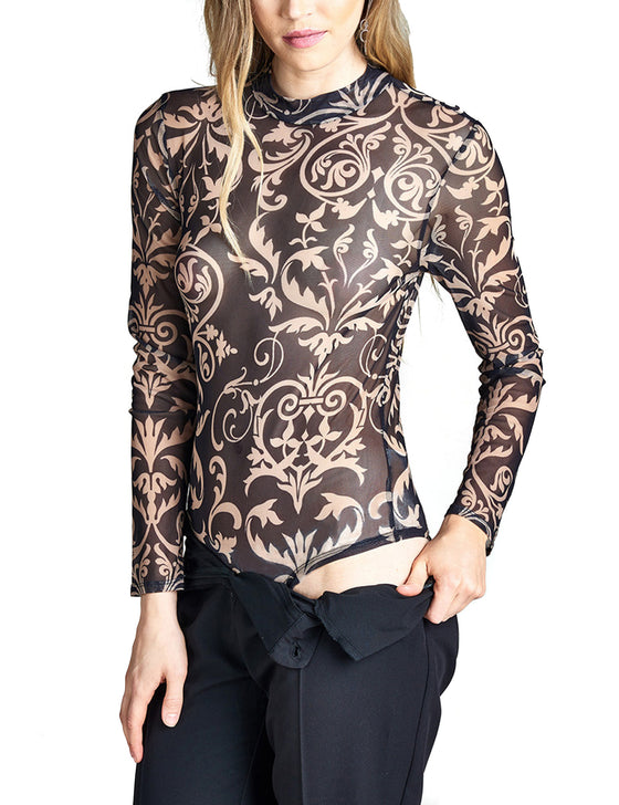 Womens Long Sleeve Mock Neck Printed Sheer Mesh Bodysuit