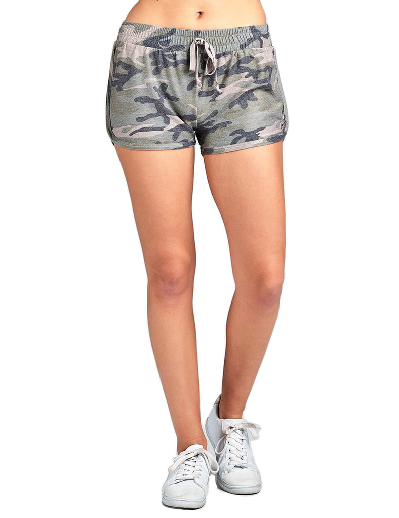 Women's Camo Print French Terry Shorts with Elastic Waistband & Drawstring