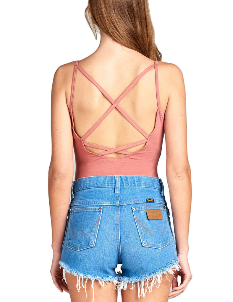 Women's Low-Cut Scoop Neckline Camisole Bodysuit with Back Strap
