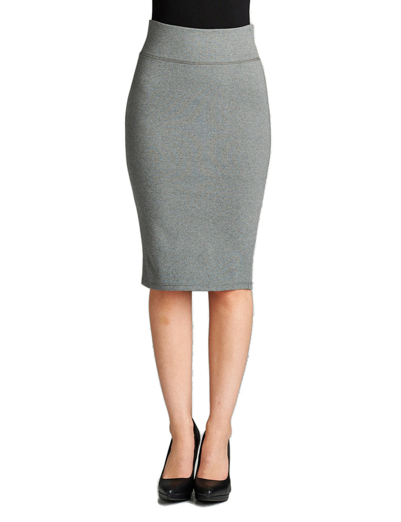 Women's Elastic Waist Band Stretchy Fabric Pencil Skirt with Bottom Slit