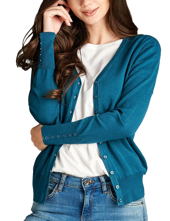 Womens V-Neck Cardigan with Sleeve Button Detail (S-XL)