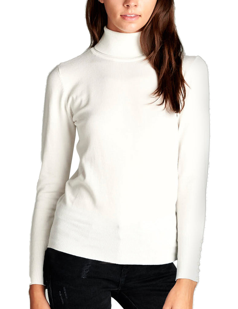 Women's Solid Long Sleeve Turtleneck Sweater with Sleeve Button