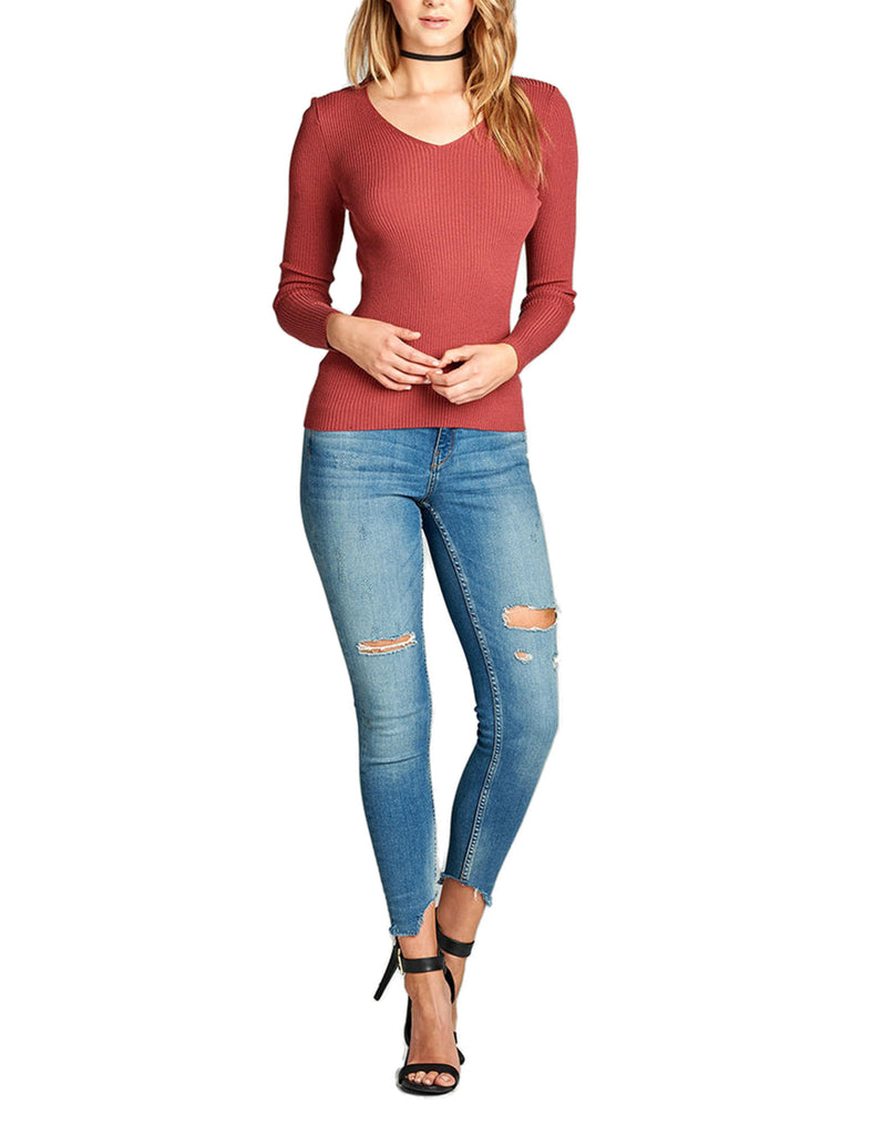 Women's Long Sleeve V-Neck Fitted Rib Rayon Nylon Sweater Top