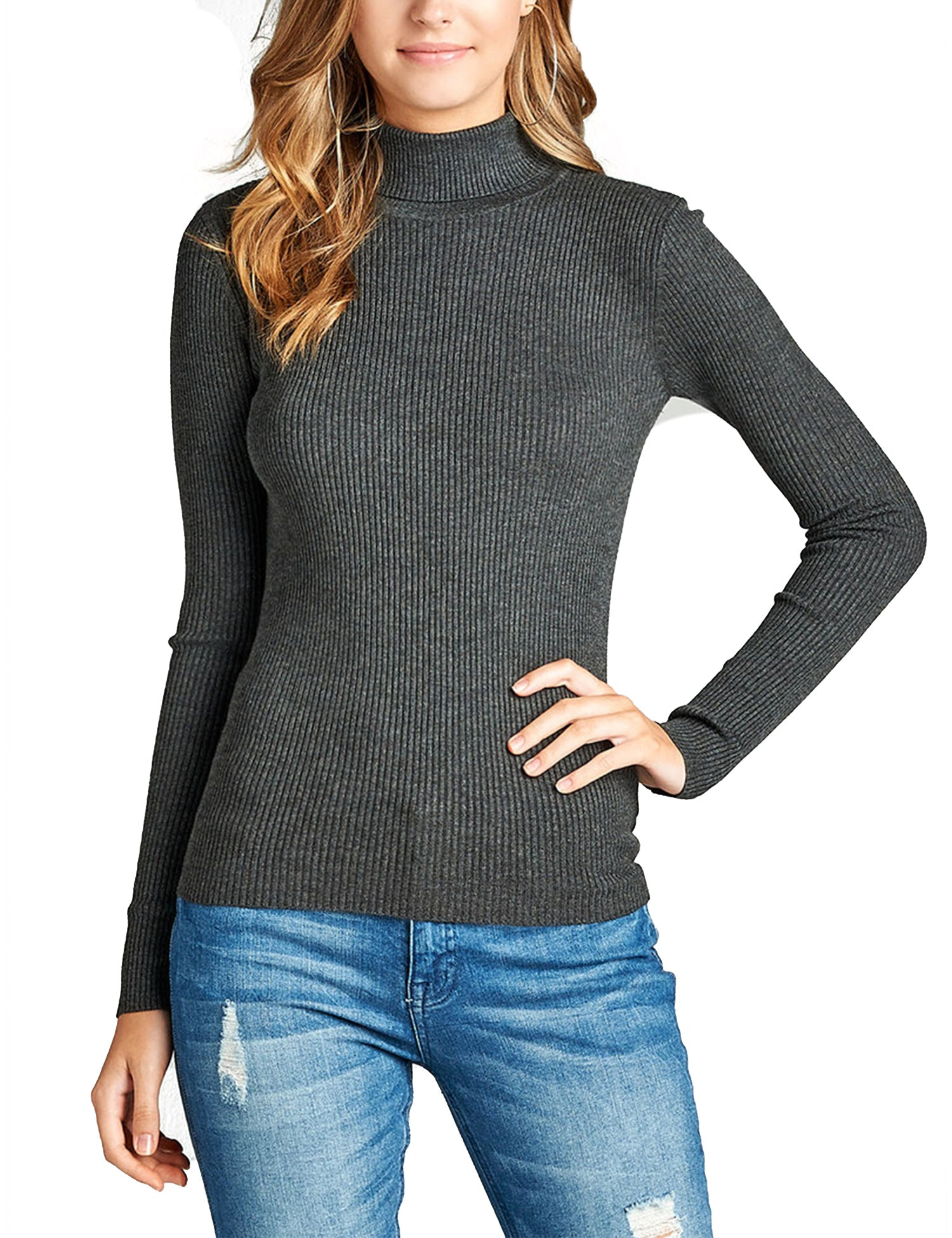 e68de6ed80e061 Womens Long Sleeve Fitted Turtle Neck Ribbed Sweater Top - KOGMO