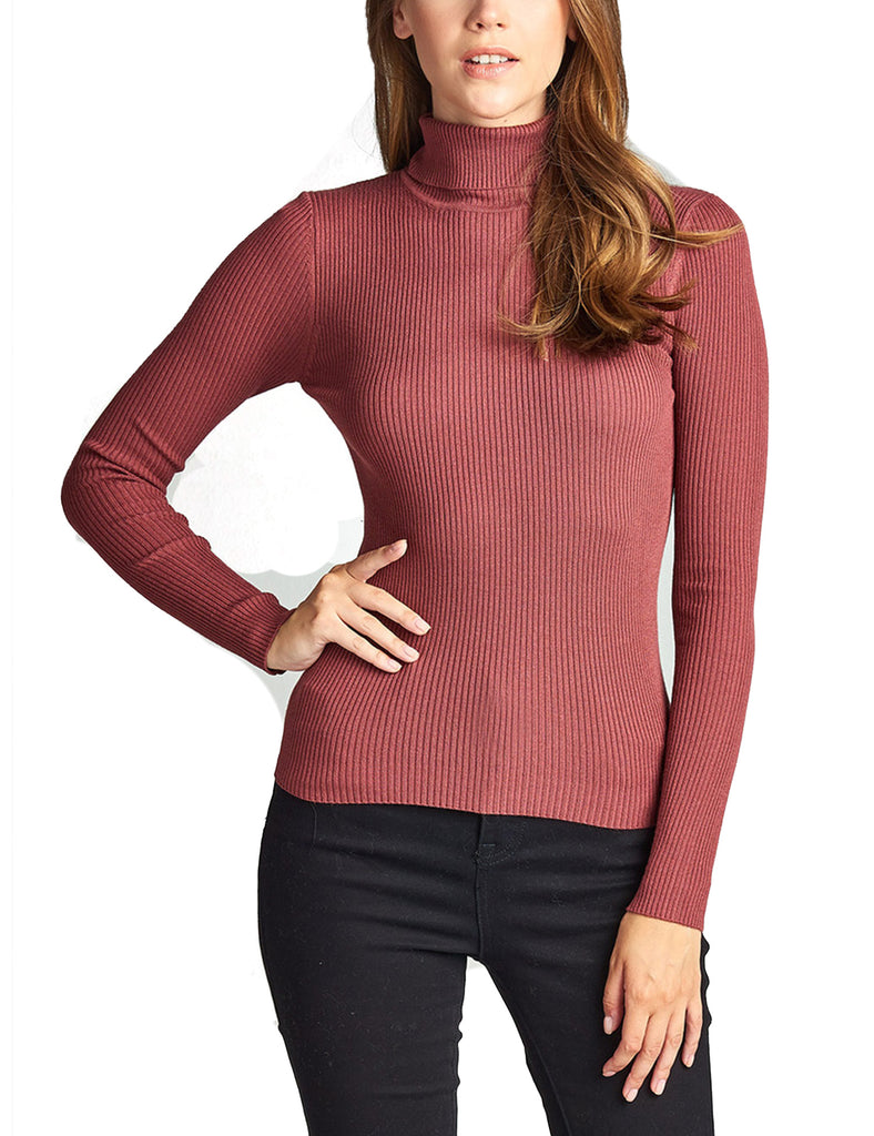 Womens Long Sleeve Fitted Turtle Neck Ribbed Sweater Top