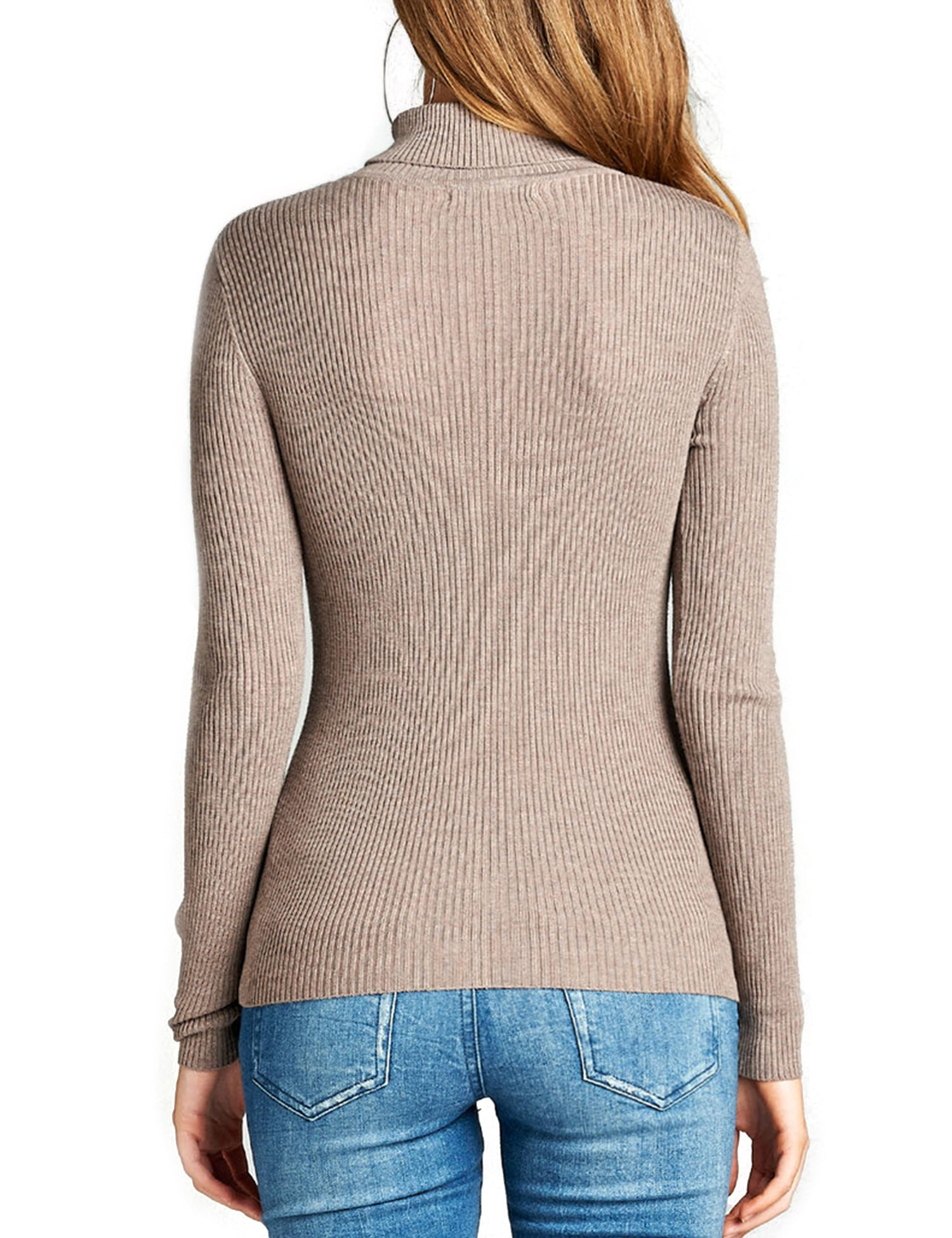 ccd5befcb83fbc ... Womens Long Sleeve Fitted Turtle Neck Ribbed Sweater Top ...