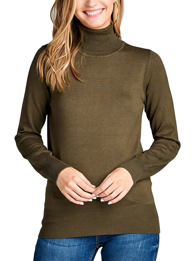 KOGMO Womens Solid Long Sleeve Turtleneck Knit Sweater (S-XL)