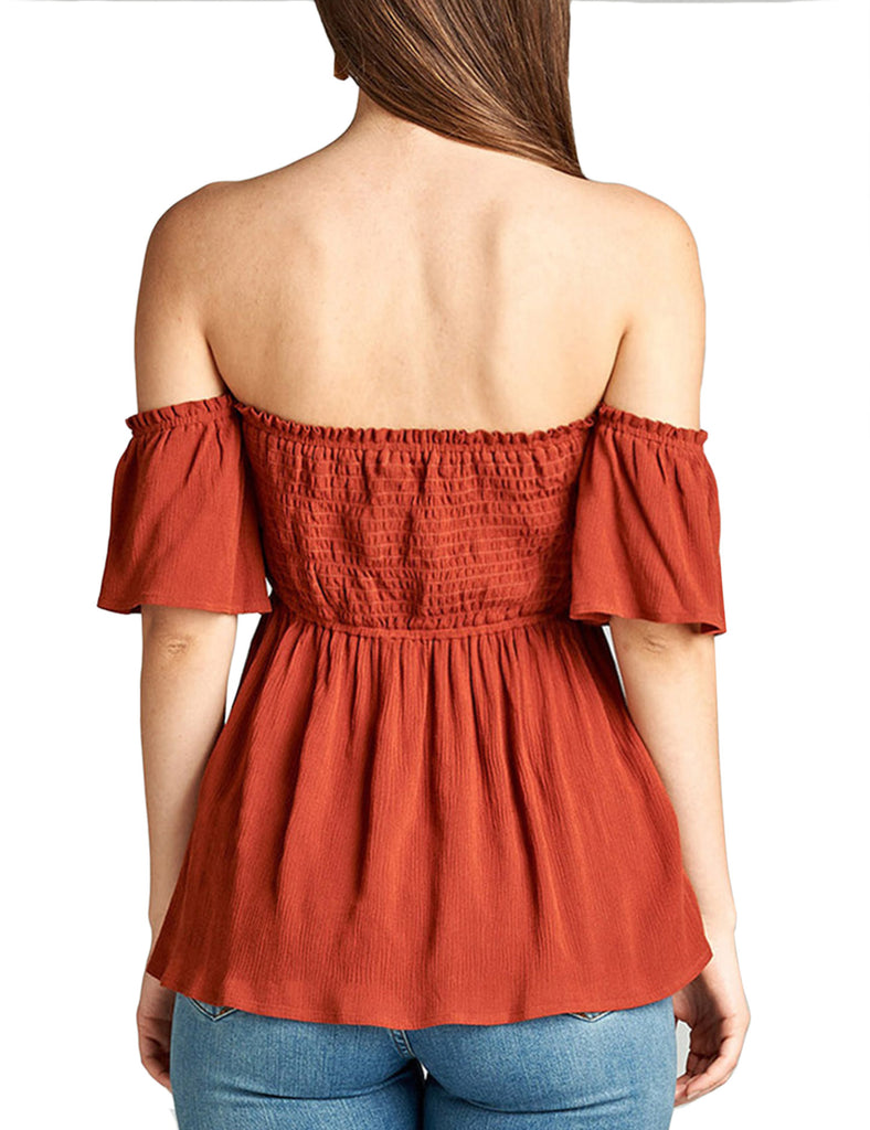 KOGMO Womens Off the Shoulder with Smocking Crinkle Rayon Gauze Top