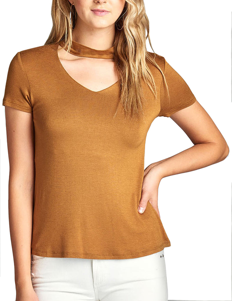 Womens Short Sleeve V-Neck Cutout Choker Neck Top