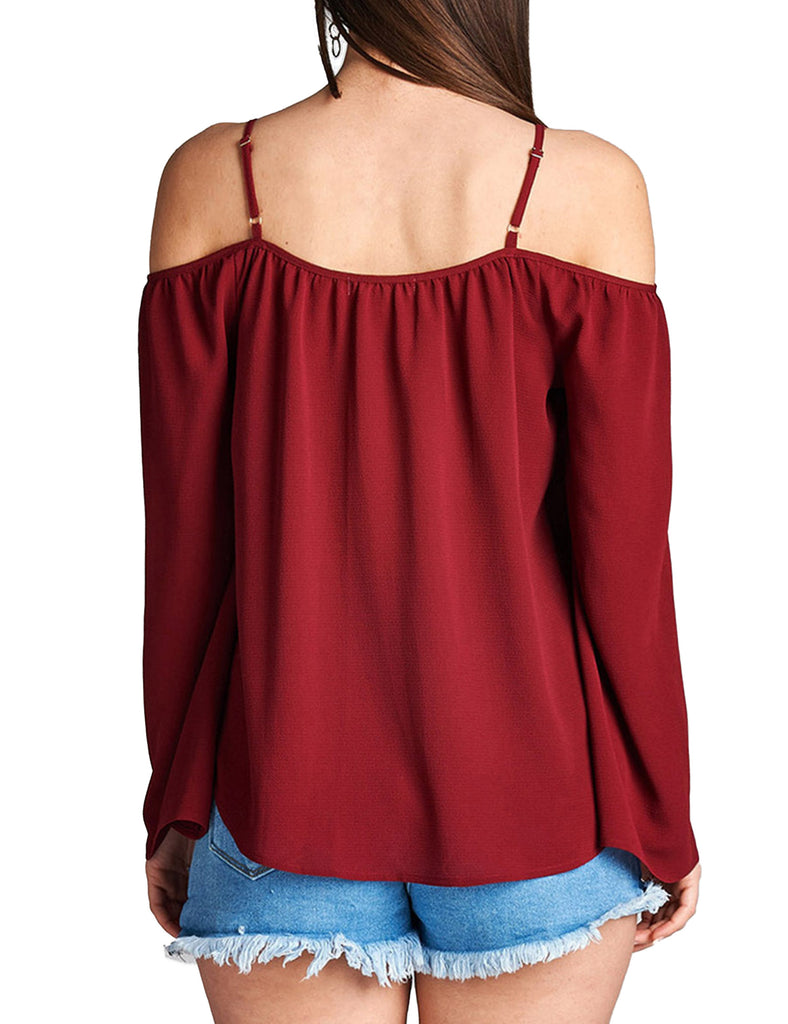 Womens Long Sleeve Open Shoulder Poly Crepe Top with Front Lace-Up