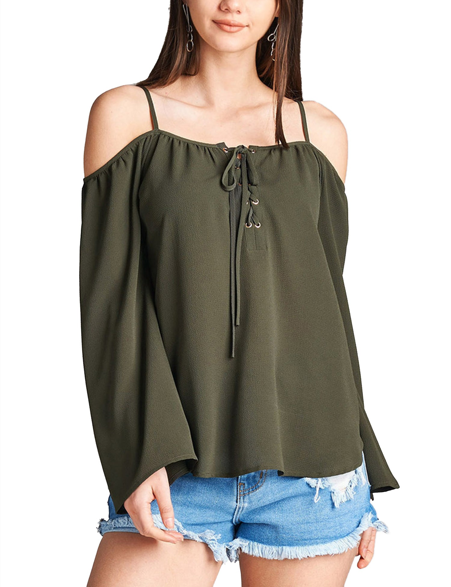0fcdcc892cfc2 ... Womens Long Sleeve Open Shoulder Poly Crepe Top with Front Lace-Up ...