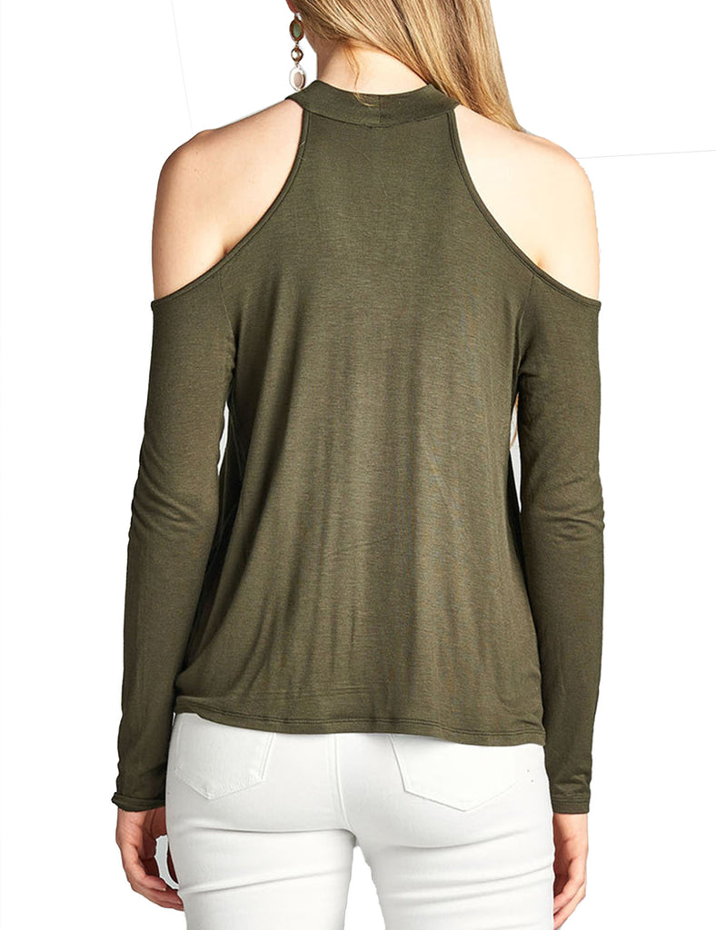 Womens Long Sleeve Cold Shoulder Surplice Rayon Spandex Jersey Choker Top