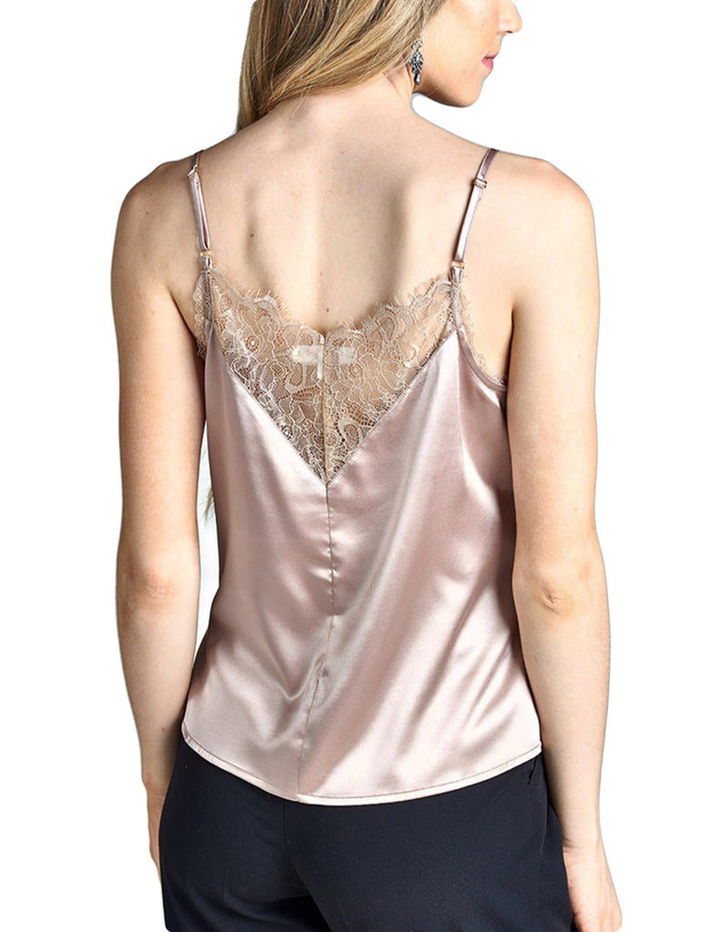 Womens Lace Inset Adjustable Strap Satin Cami Top