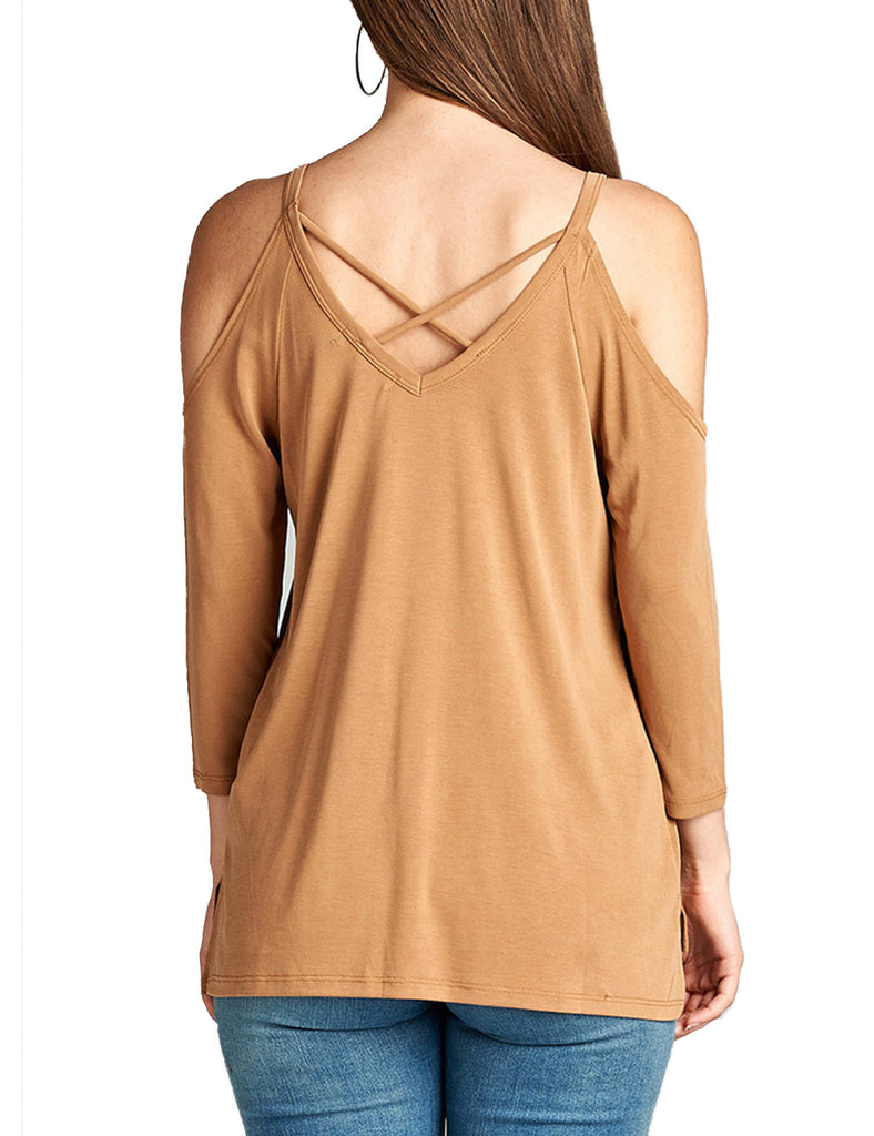 Womens 3/4 Sleeve V-Neck Open Shoulder Modal Jersey Top With Back Strap