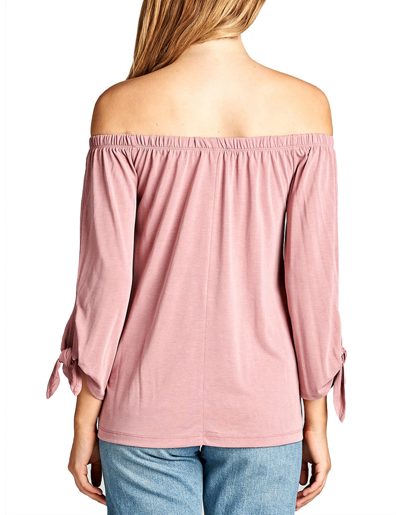 Womens Off the Shoulder Sleeve-Tie Sandwashed Modal Jersey Top