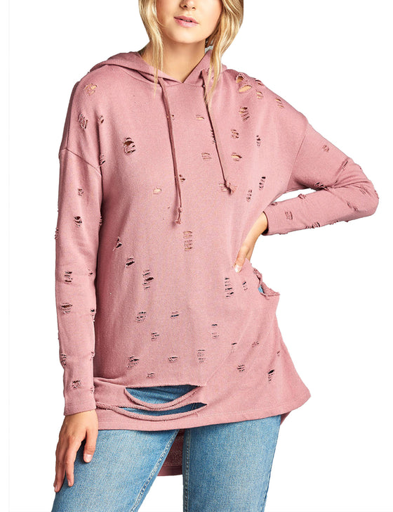 Womens Long Sleeve Distress with Drawstring French Terry Hoodie Tunic Top