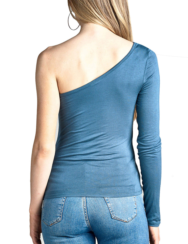 Womens Long Sleeve One Shoulder Rayon Spandex Jersey Top
