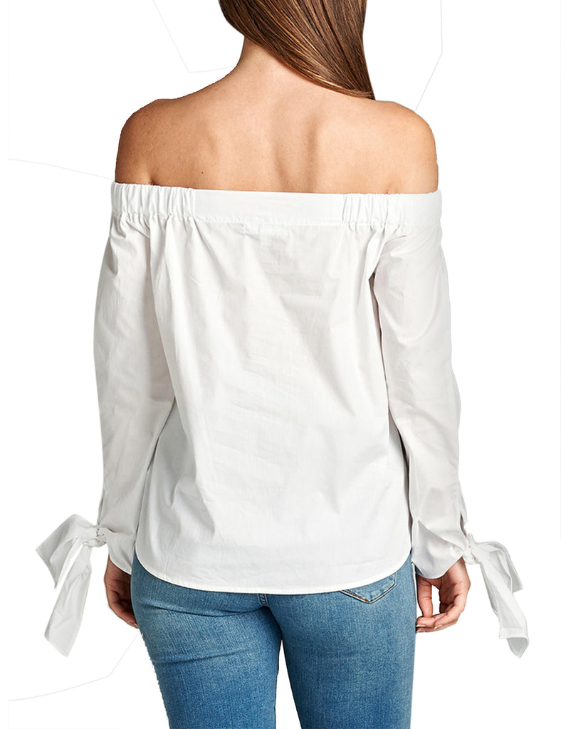 Womens Off the Shoulder Long Sleeve Cotton Top with Sleeve Tie