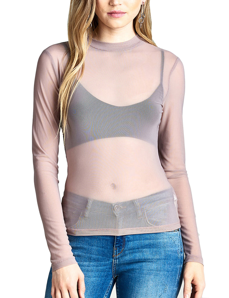 Womens Long Sleeve Mock Neck Sheer Mesh Top