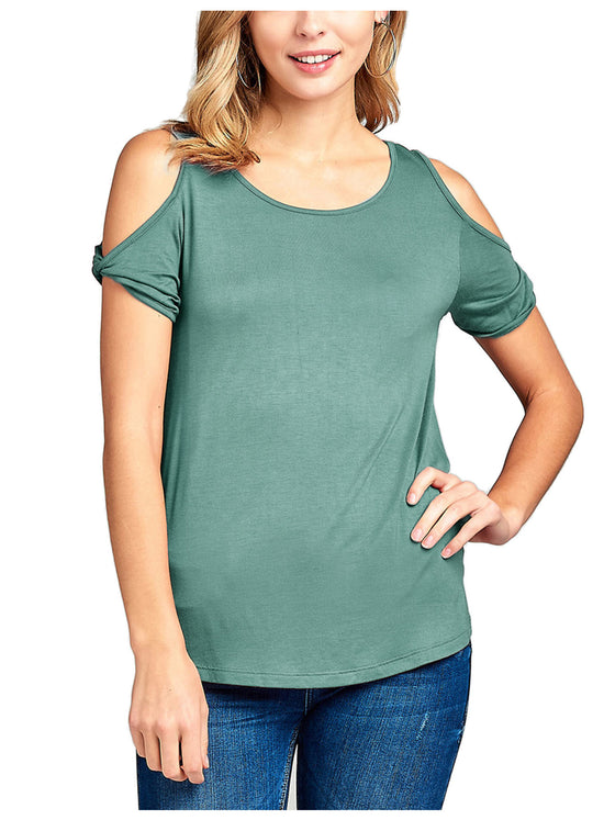 [Clearance] Women's Casual Cold Shoulder Twisted Short Sleeve Round Neck Top