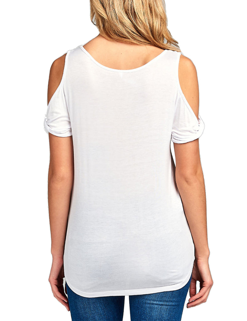 Women's Casual Cold Shoulder Twisted Short Sleeve Round Neck Top