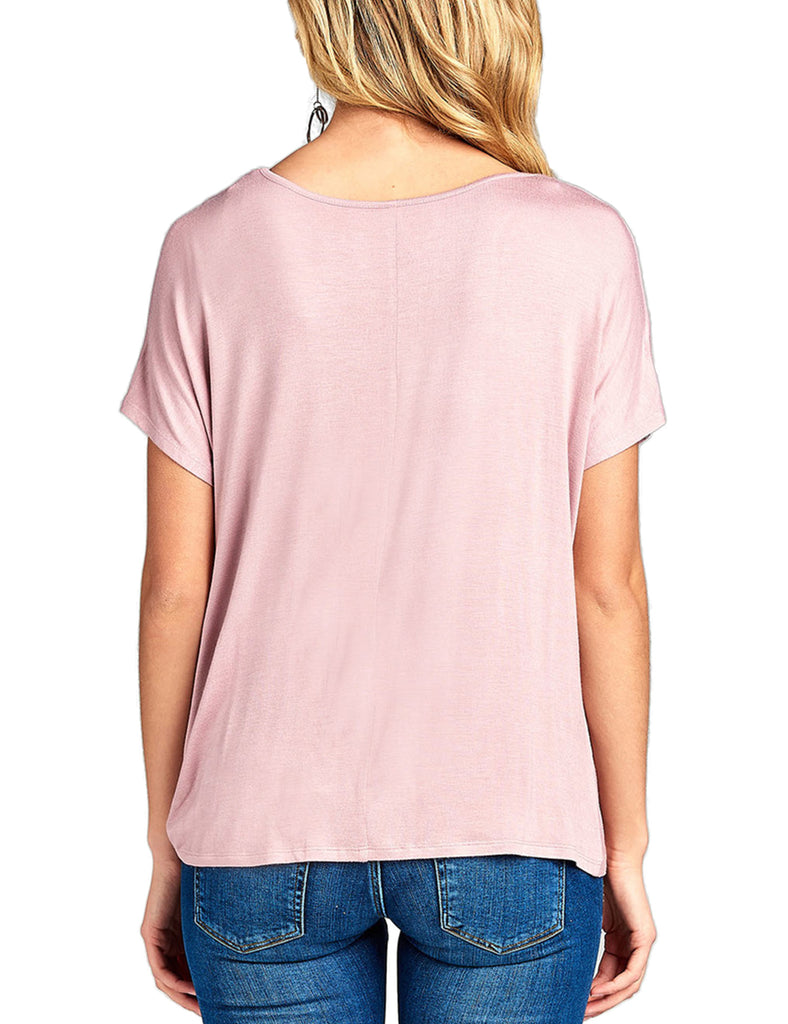 Womens Short Sleeve Dolman Cross Strap V-Neck Twisted Top