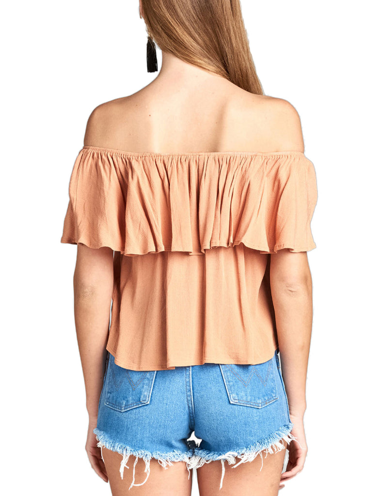 Women's Plain Short Sleeve Off Shoulder Ruffle Crinkle Gauze Blouse Top