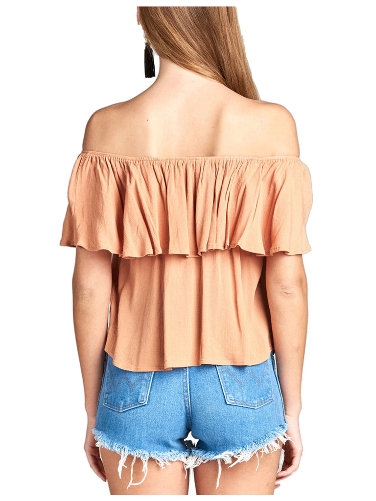 [Clearance] Women's Plain Short Sleeve Off Shoulder Ruffle Crinkle Gauze Blouse Top