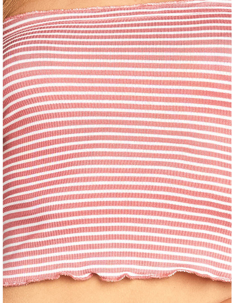 Women's Short Sleeve Off Shoulder Stripe Ribbed Rayon Spandex Crop Top