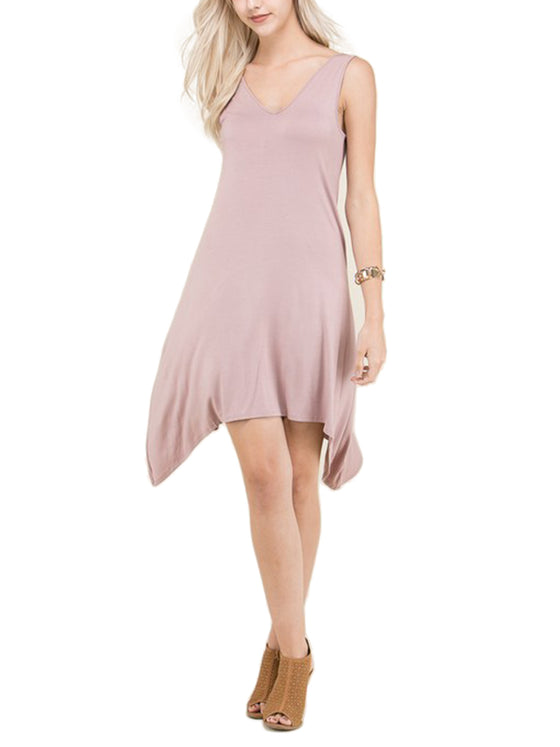 [Clearance] Womens Solid V-Neck Sleeveless Flaring Trapeze Dress
