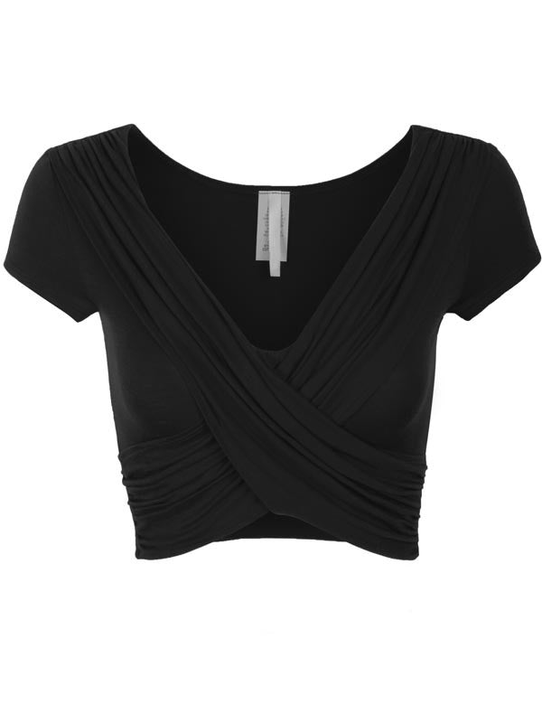 Short Sleeve Criss Cross Crop Top
