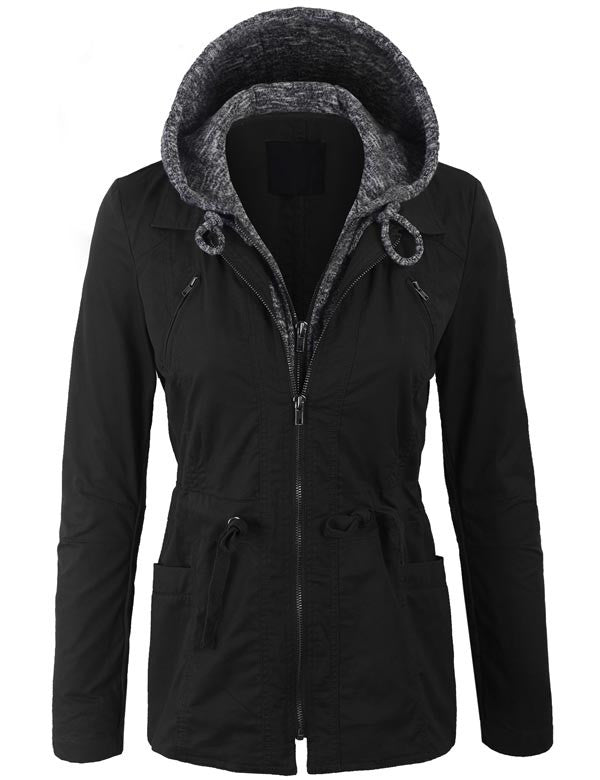 Military Anorak Jacket with Knit Hood and Pockets