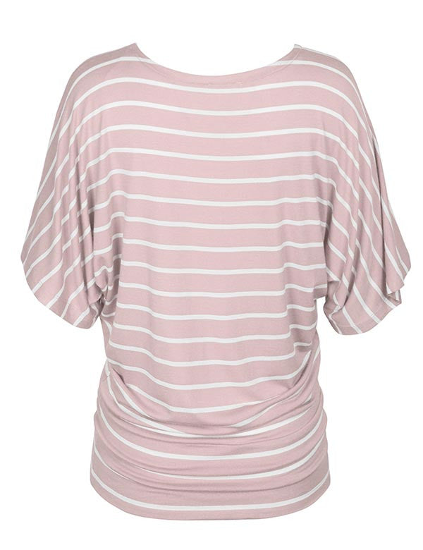 Round Neck Striped Dolman Sleeve Casual Drape Top T-Shirt