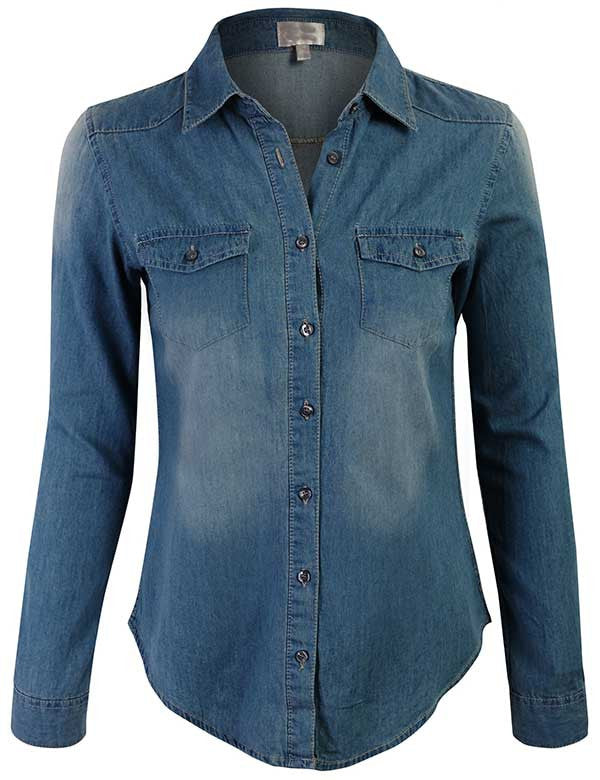 Long Sleeve Denim Shirt Fitted Blouse with Roll Up Sleeves